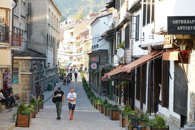 A tourist street in the historic center of Veliko Tarnovo royalty free stock image