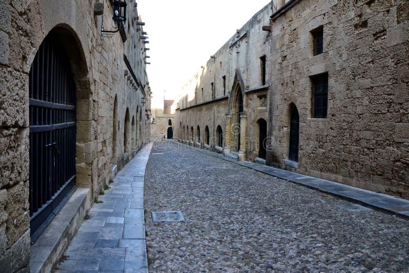 Tourist-less street in Old Rhodes Town. Tourist´s favourite street in Old Town, Lindos, Rhodes stock photo