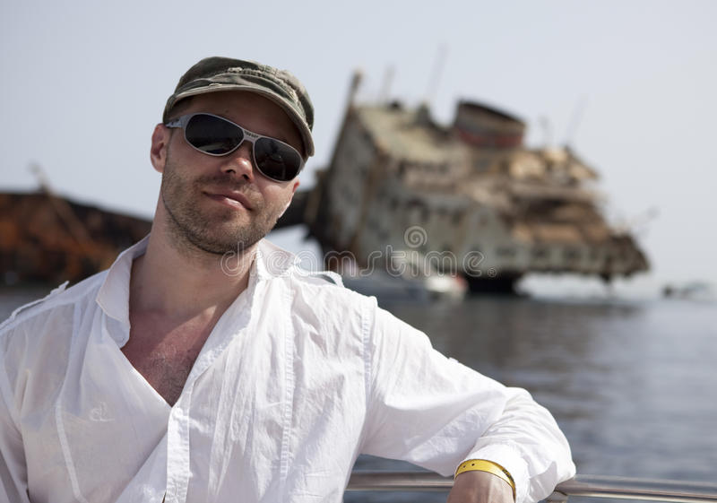 Download Tourist And The Sunken Russian Ship. Stock Image - Image: 14537935