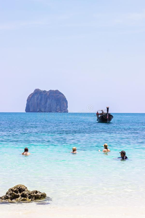 The tourist swimming and dive for relaxing at Koh Hong Islands located in the National Park in Andaman sea. Krabi Province royalty free stock photo