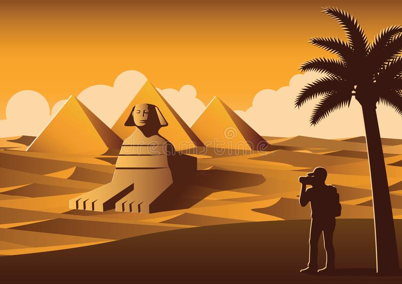 tourist take photo of famous place called Pyramid,landmark of Egypt on sunset time,yellow color style royalty free illustration