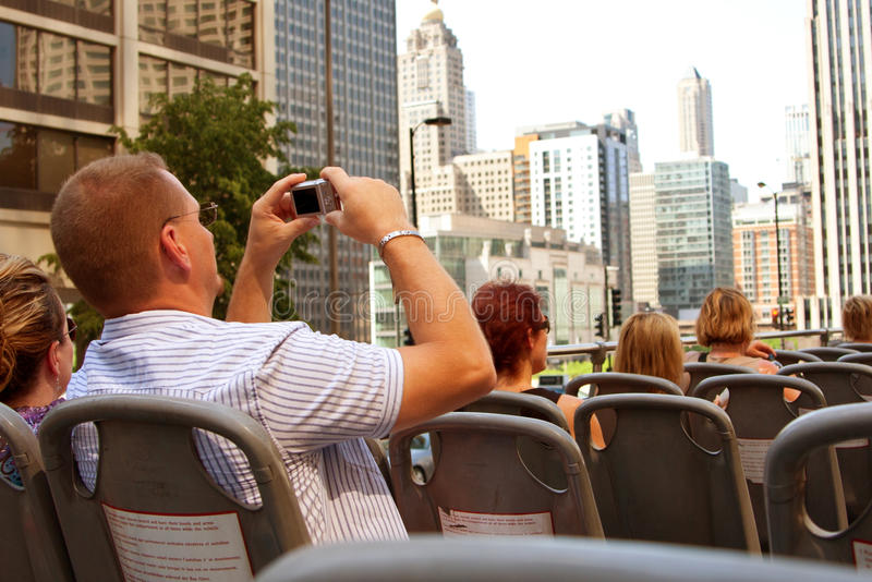 Download Tourist Takes Photos Of Chicago Skyline From Bus Editorial Photo - Image of camera, summer: 25719821