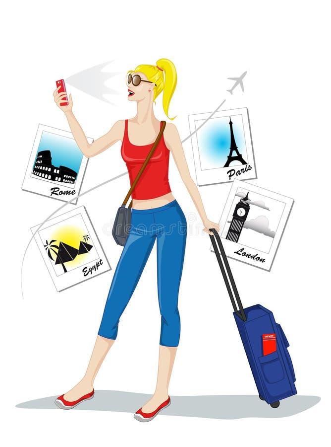 Tourist taking selfie royalty free illustration