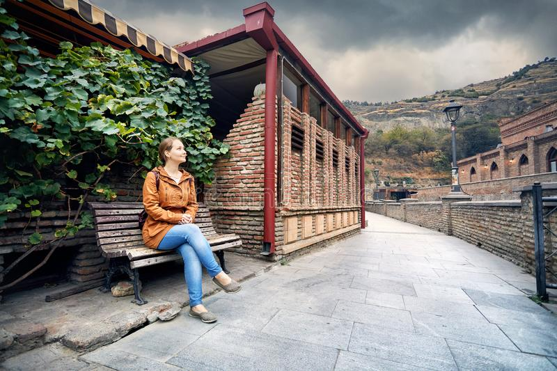 Tourist in Tbilisi stock image