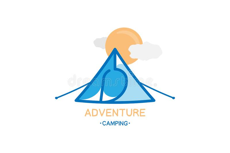 Tourist Tent on the background of clouds and the sun and inscription Adventure Camping. Illustration for tourism. royalty free illustration