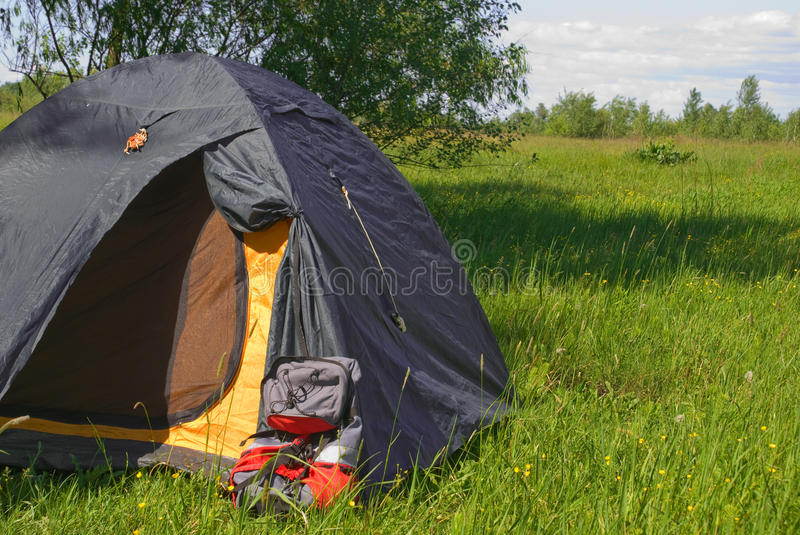 Tourist Tent With  Backpack Royalty Free Stock Photography
