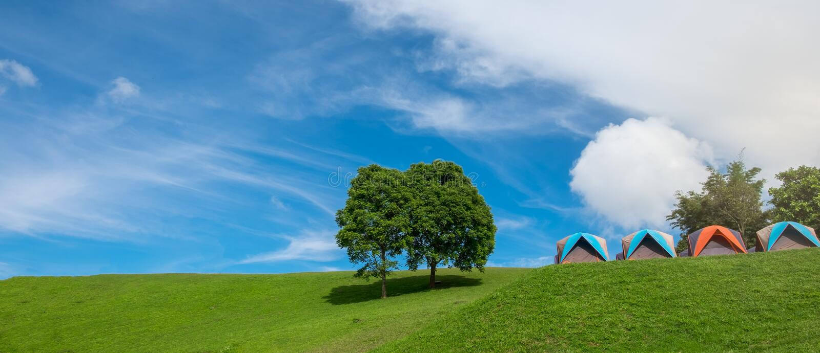 Tourist tent in camp among meadow in the mountain. Tents camping at Doi Samer Dao , Sri Nan National Park, Nan Province, Thailand stock photos