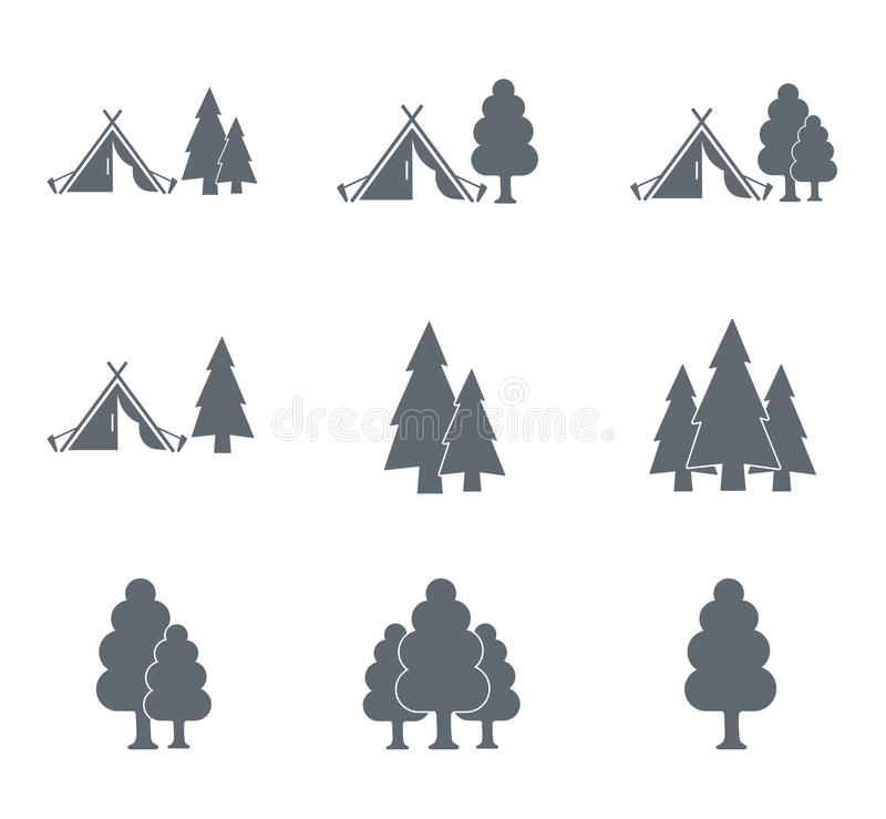 Tourist tent icon and forest royalty free illustration