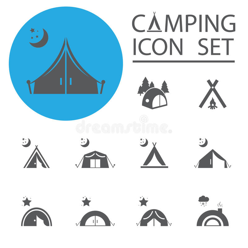 Tourist tent.Icon Set. Vector illustration. vector illustration
