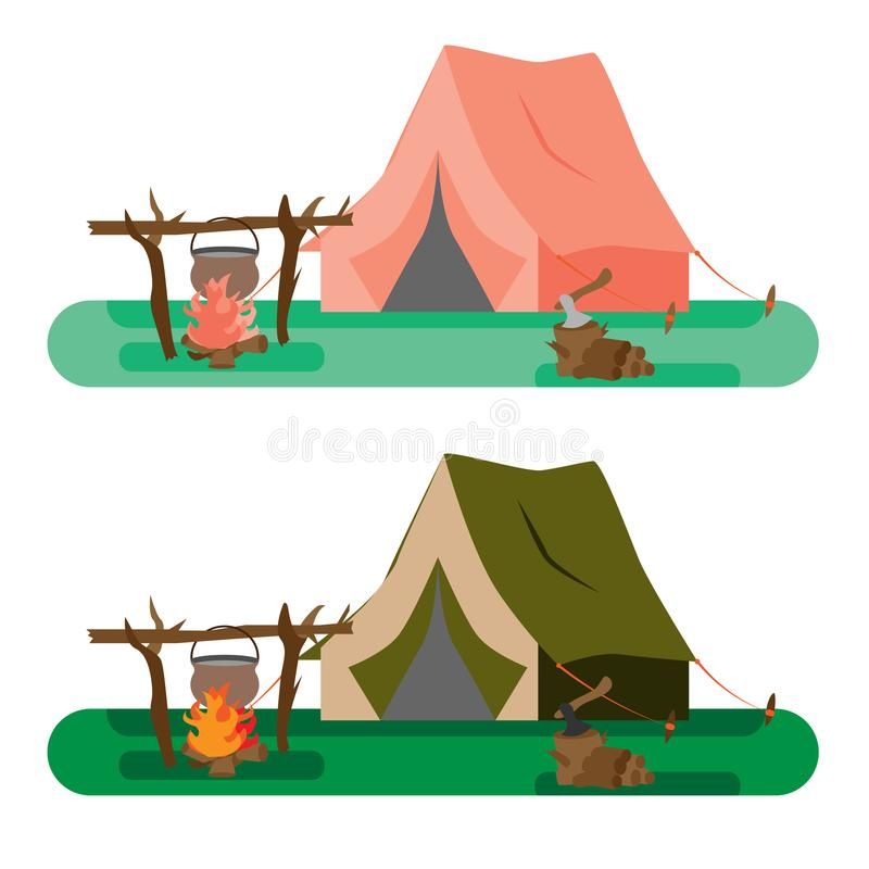 Tourist tent and pot with food on the fire, as well as firewood with an ax in nature.  illustration stock illustration