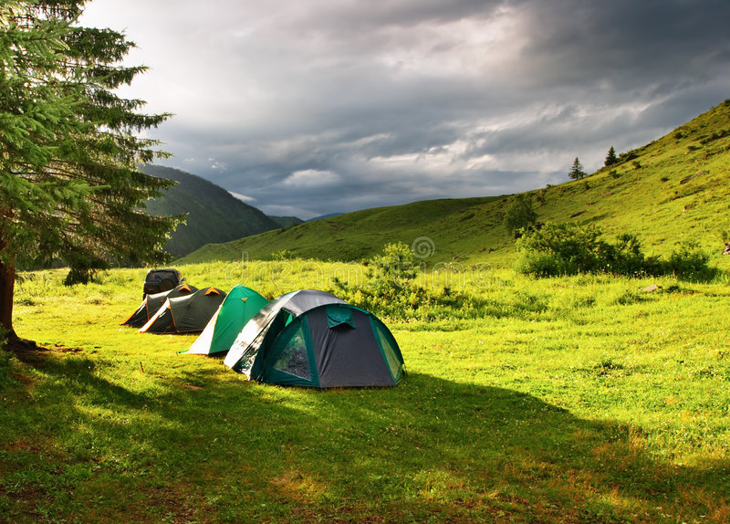 Download Tourist tents stock image. Image of glade, grassland, tree - 4328989
