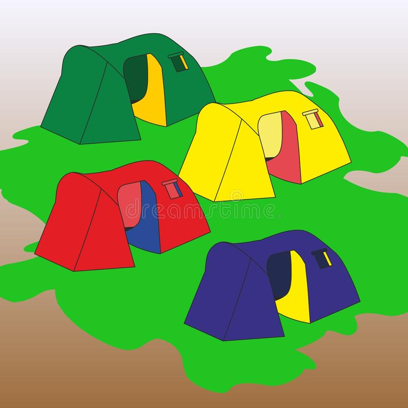 Tourist tents royalty free illustration