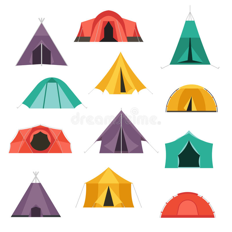 Tourist Tents Vector Icons Stock Vector Illustration Of