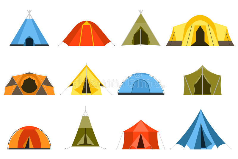 Tourist Tents Vector Icons. Camping tents vector icon. Triangle and dome flat design tents. Tourist hiking tents isolated on white background. Green, blue royalty free illustration
