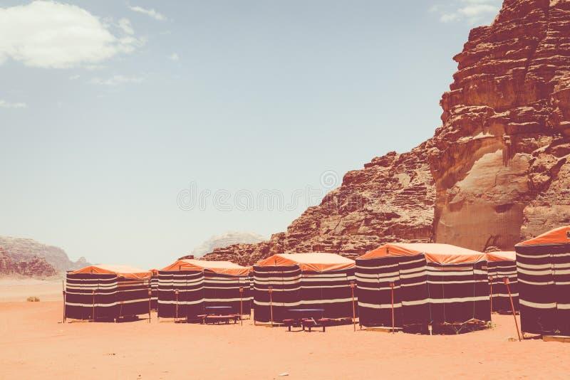 Tourist tents in Wadi Rum dessert. Jordan. Middle East stock images