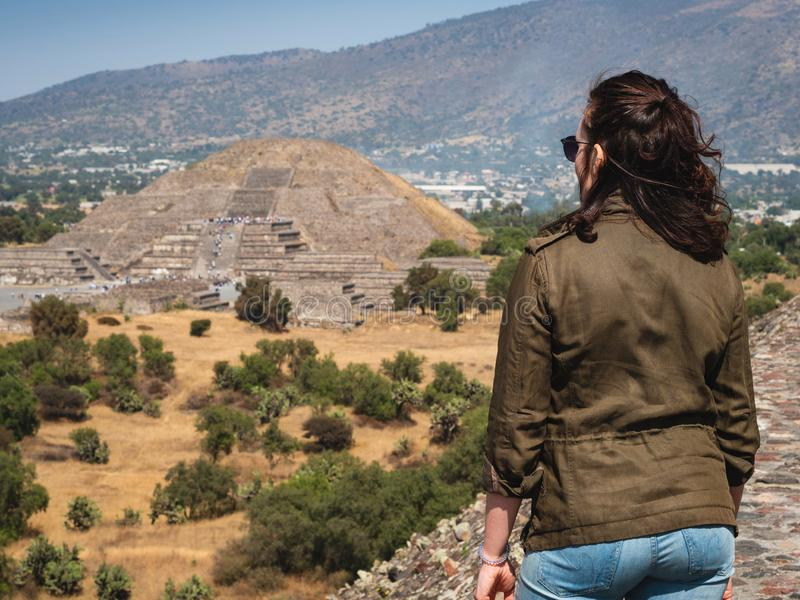 Tourist at Teotihuacan Pyramids Near Mexico City, Mexico royalty free stock photos