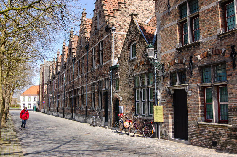 Tourist and traditional Bruges brick houses, Belgium royalty free stock image