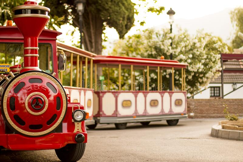 Tourist train on wheels stock photo