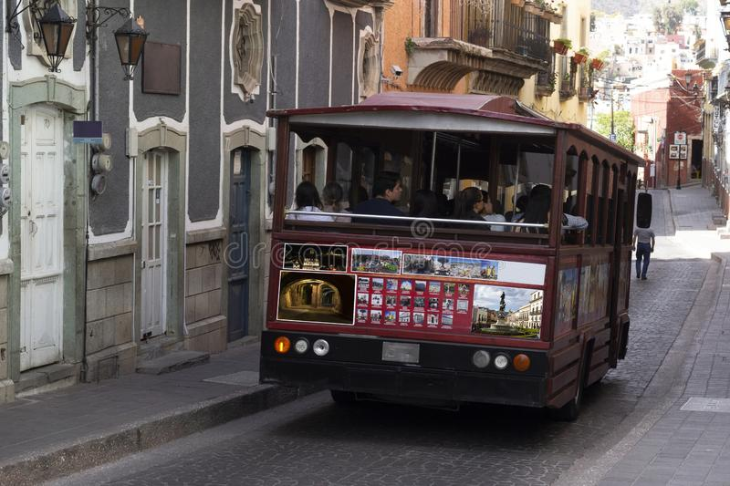 Tourist transport in the streets of the city of Guanajuato royalty free stock photo