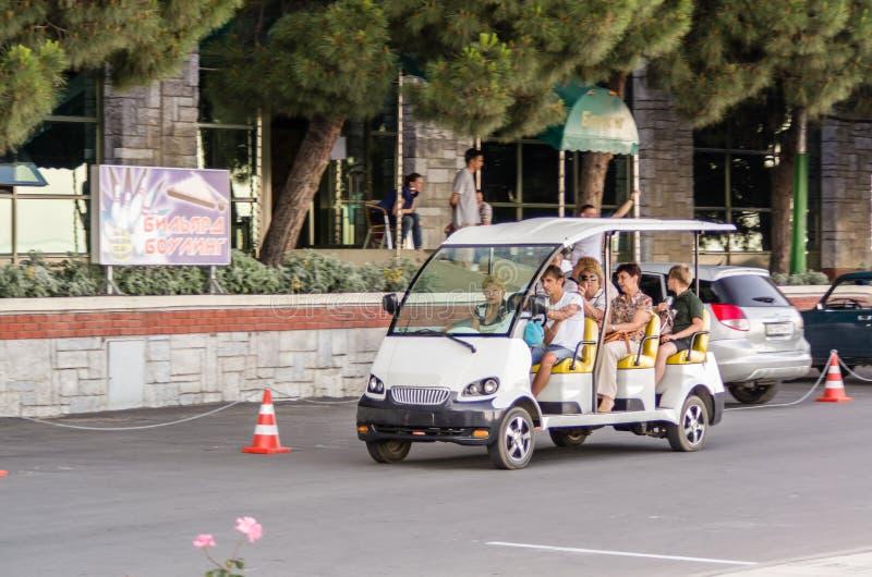 Tourist transportation car in Alushta, Crimea, Ukraine. ALUSHTA, UKRAINE - JUNE 11: Tourist transportation car on June 11, 2013 in Alushta, Ukraine royalty free stock photos