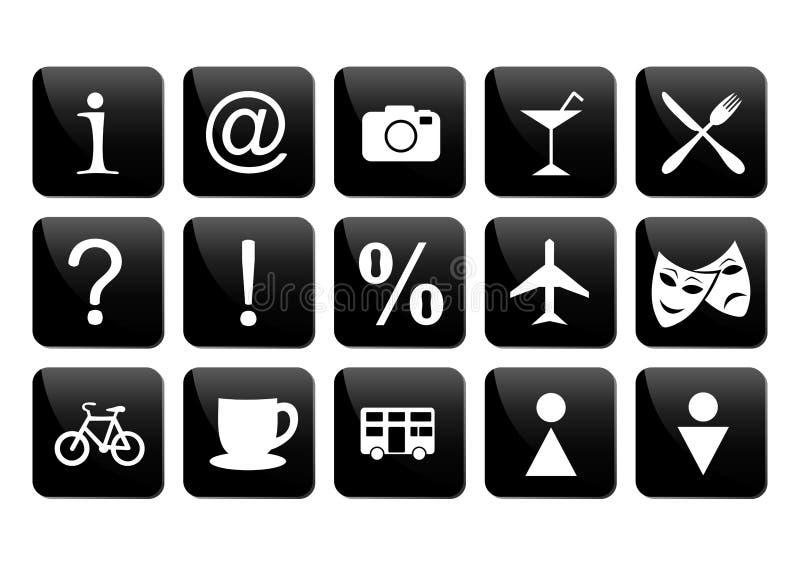 Tourist travel icon set. Illustration of tourist travel icon set in black and white colours vector illustration