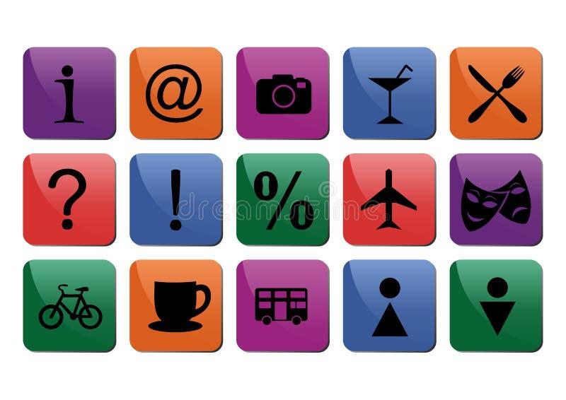 Tourist travel icon set. Illustration of colorful tourist travel icon set stock illustration
