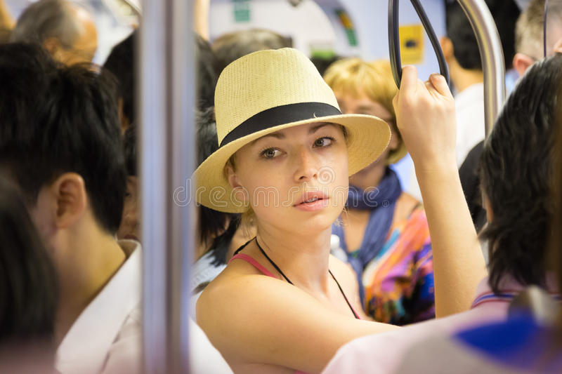 Tourist traveling by public transport. stock photo