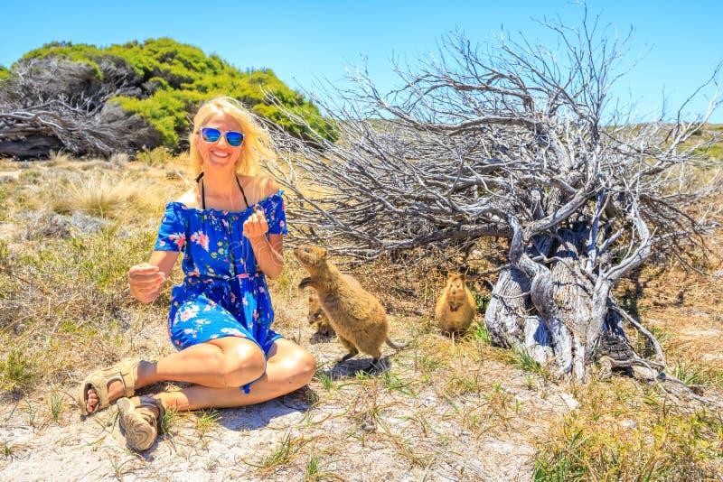 Tourist with two Quokka royalty free stock photos