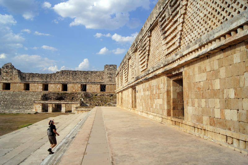 Tourist in Uxmal stock photography