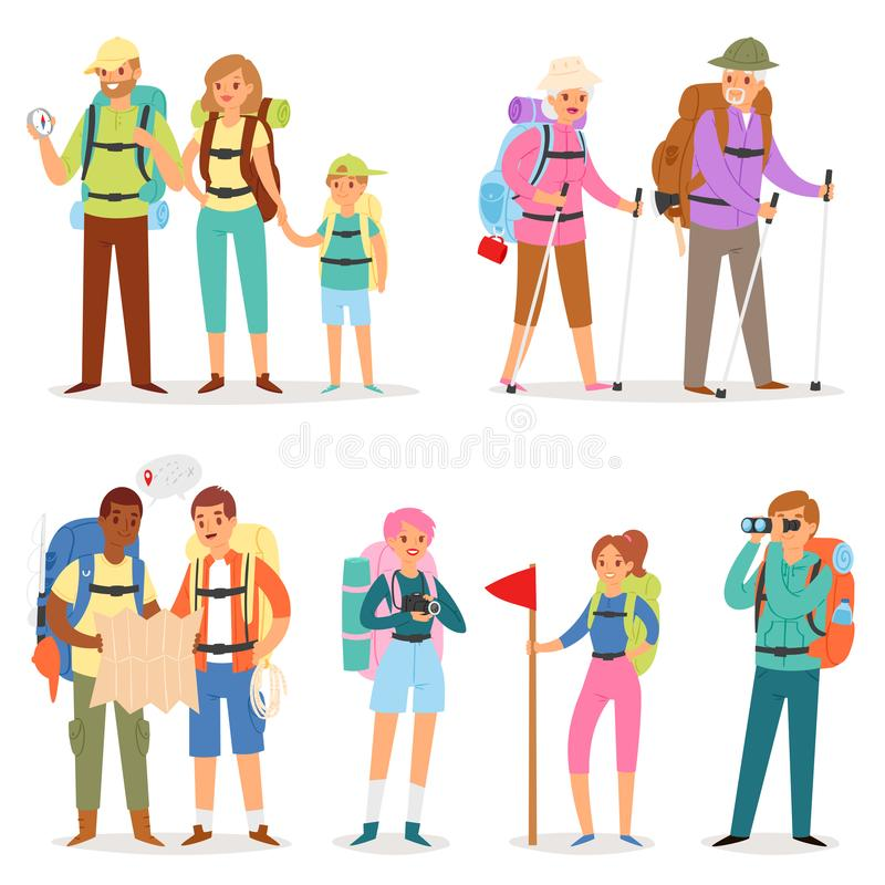 Tourist vector traveling people tripper traveler man woman camper character with backpack on vacation illustration set vector illustration
