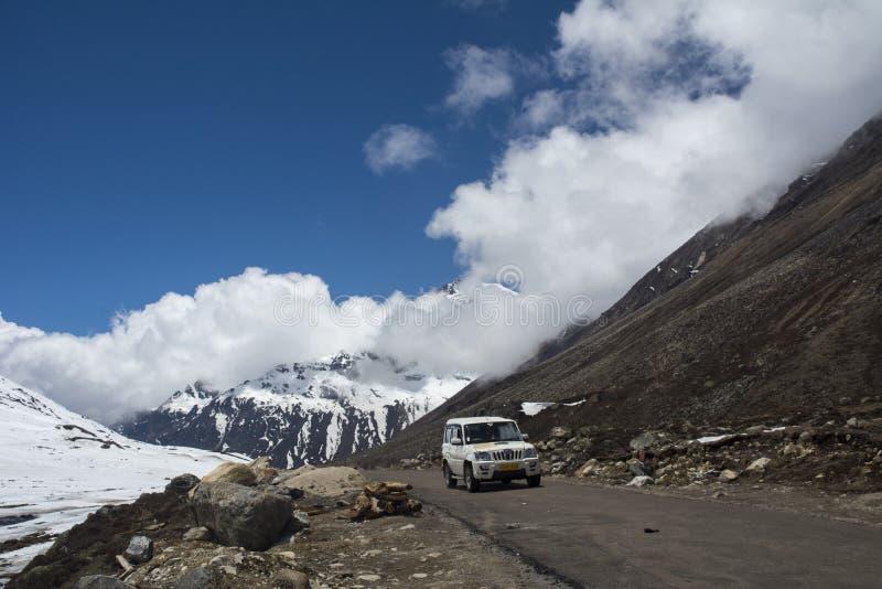 Tourist Vehical in high Pases at Zero Point,Sikkim,India royalty free stock photos