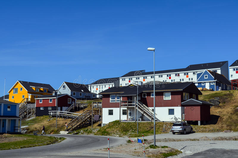 Tourist view of Nuuk, Capital of Greenland stock photos