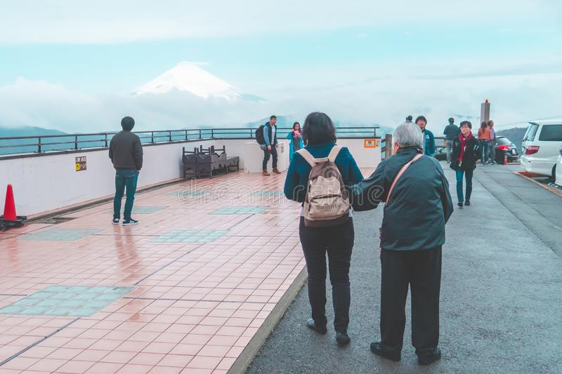 Tourist are viewing Mount Fuji from Owakudani Peak stock image