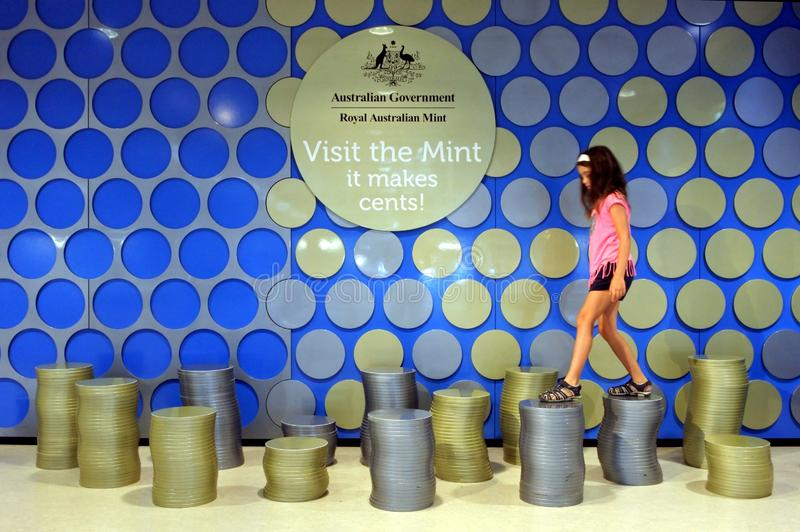 Tourist visit at the process building of the Royal Australian Mint Canberra Australia. Young tourist girl Talya Ben Ari age 08 visit at building of the Royal royalty free stock images