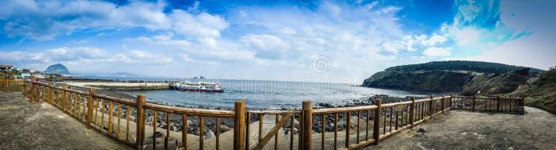 The tourist visited Seongaksan coast, the famous coastal drive w stock image