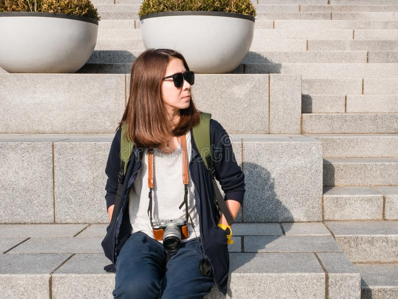 Tourist visiting Ehwa womans university. royalty free stock images