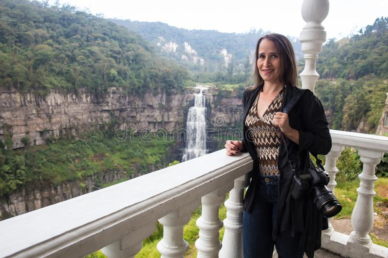 Tourist visiting the famous Tequendama Falls located southwest of Bogotá in the municipality of Soacha stock photography