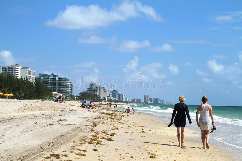 Tourist walking on Fort Lauderdale Beach stock images