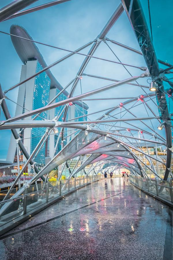 Pathway from Helix Bridge to the Marina Bay Sands. royalty free stock images