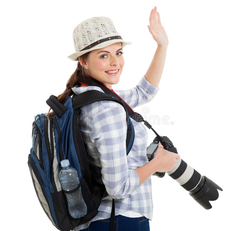 Tourist waving good bye stock images