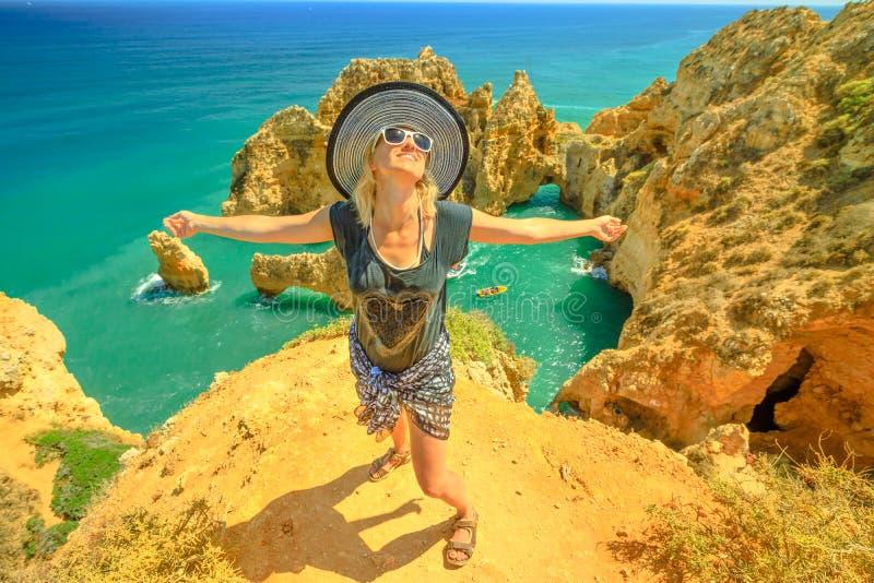 Tourist woman in Algarve royalty free stock photos