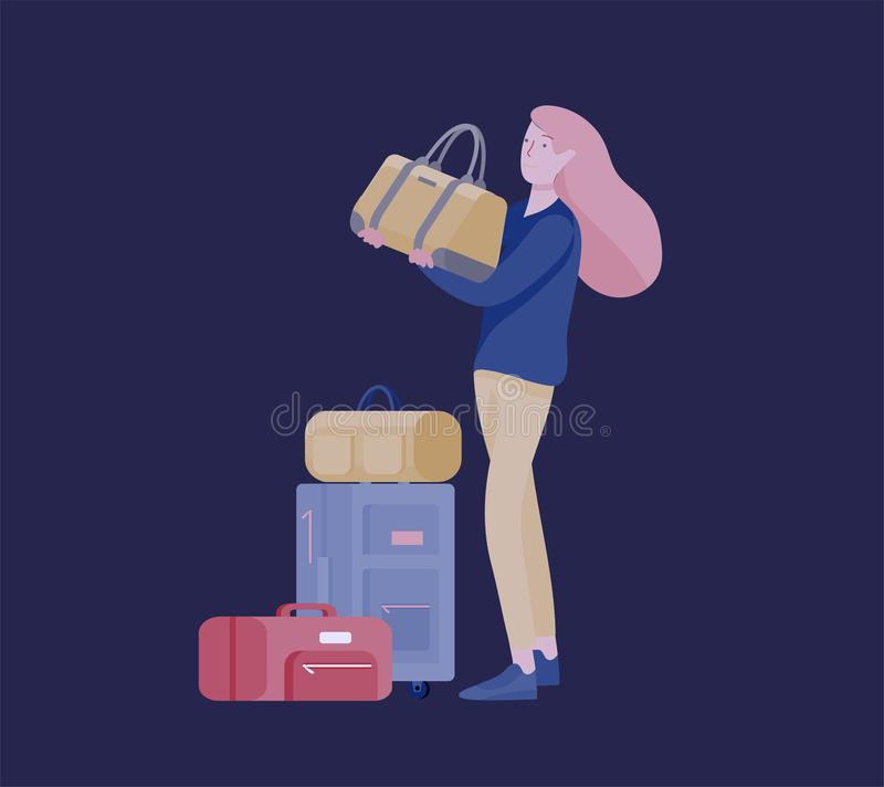 Tourist men with laggage travelling alone, go on journey. Traveler in various activity with luggage and equipment. Tourist woman with laggage travelling alone royalty free illustration