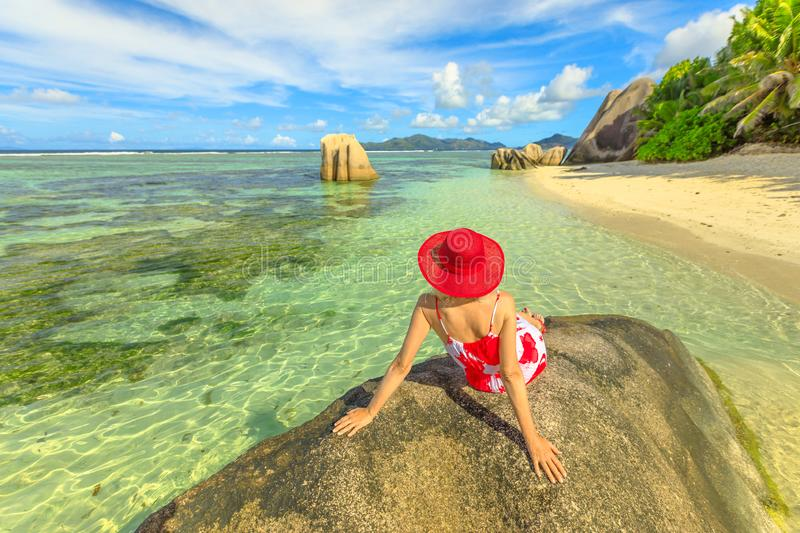 Tourist woman at Source d`Argent royalty free stock photos