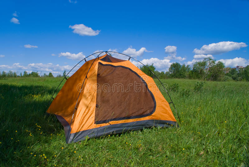 Download Tourist Yellow Tent On Green Lawn Stock Image - Image: 9640063