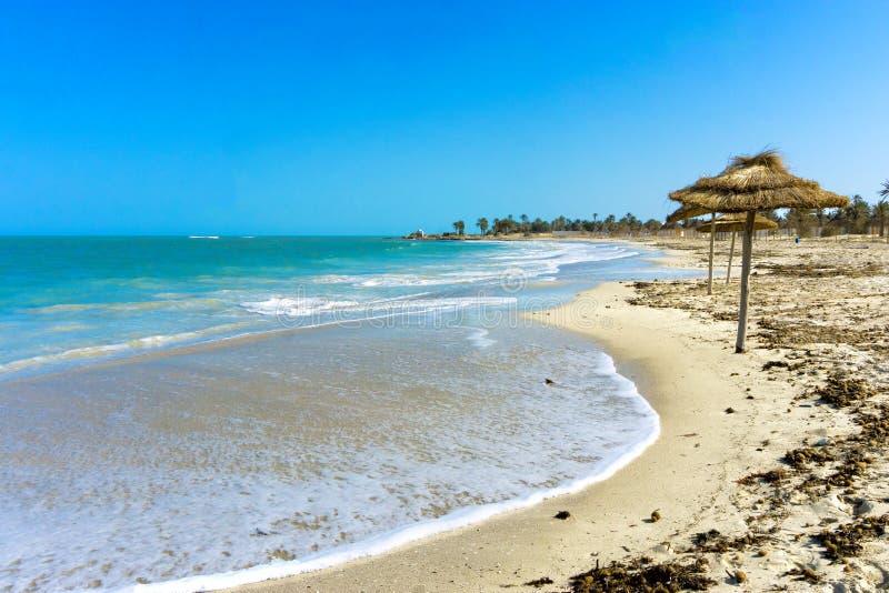 Tourist Zone Beaches on the Mediterranean Coast, Djerba, Tunisia. View of the tourist zone beaches on the Mediterranean coast, Djerba, Tunisia royalty free stock photography