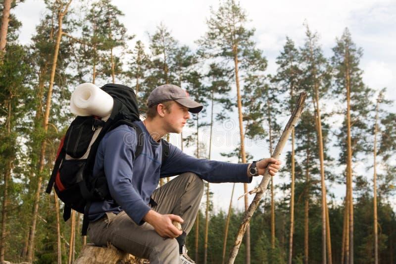 Touriste au bois photos libres de droits
