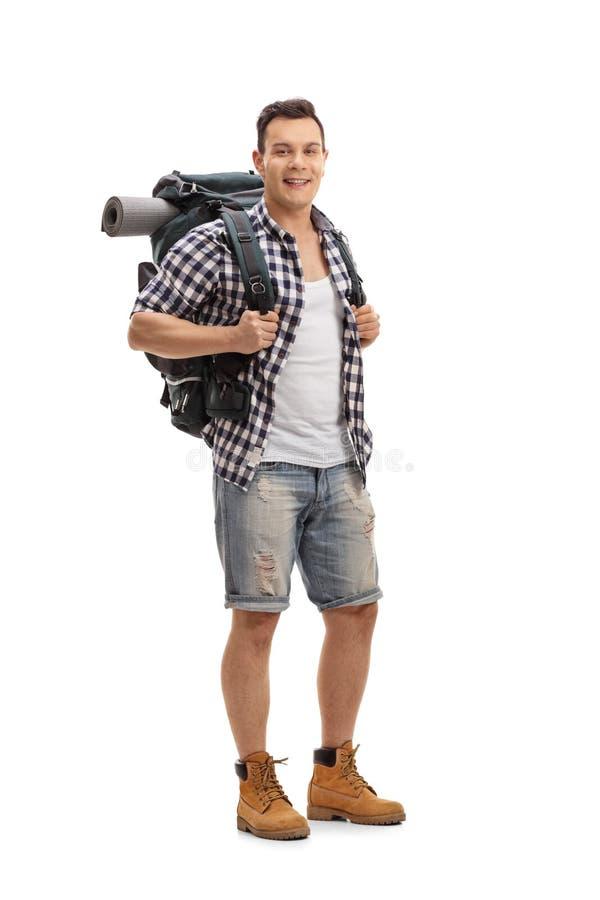 Touriste avec un sac à dos images stock