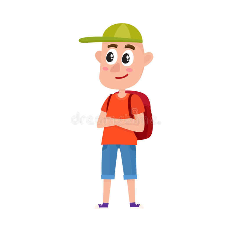 Touriste d'adolescent avec les shorts de port et la casquette de baseball de sac à dos illustration de vecteur