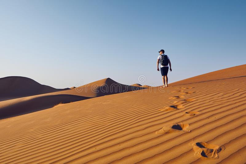 Touriste dans le désert image libre de droits