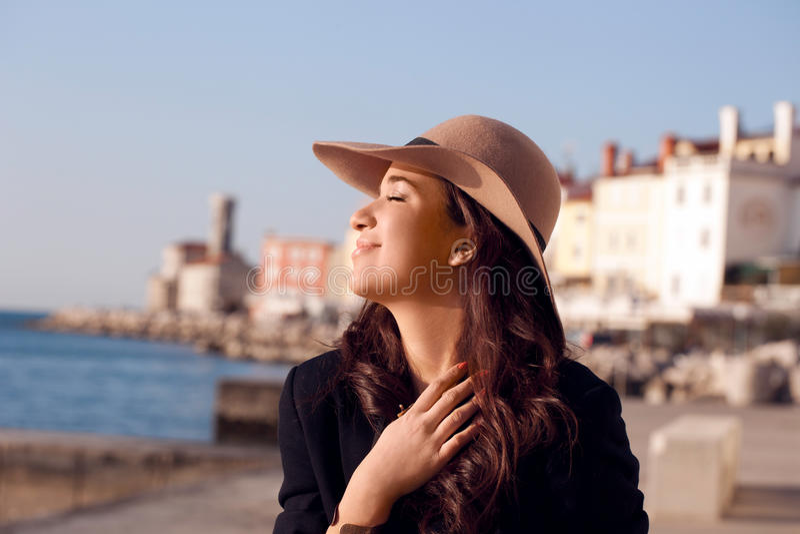Touriste dans Piran photo stock